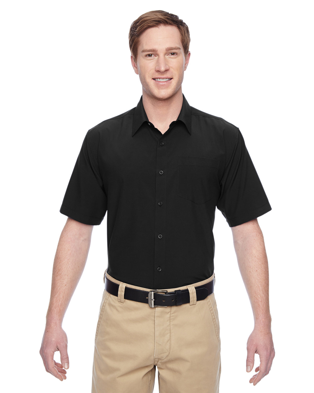 Harriton Men's Paradise Short-Sleeve Performance Shirt BLACK