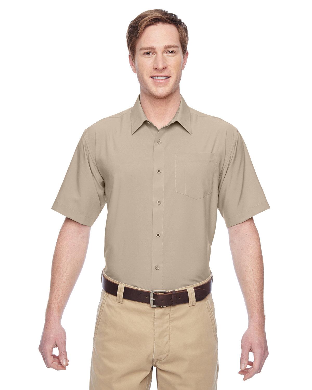 Harriton Men's Paradise Short-Sleeve Performance Shirt KHAKI