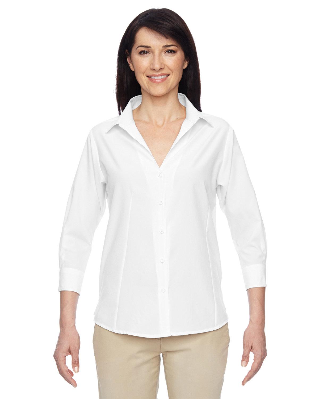 Harriton Ladies' Paradise 3/4-Sleeve Performance Shirt WHITE