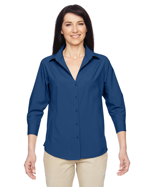 Harriton Ladies' Paradise 3/4-Sleeve Performance Shirt POOL BLUE