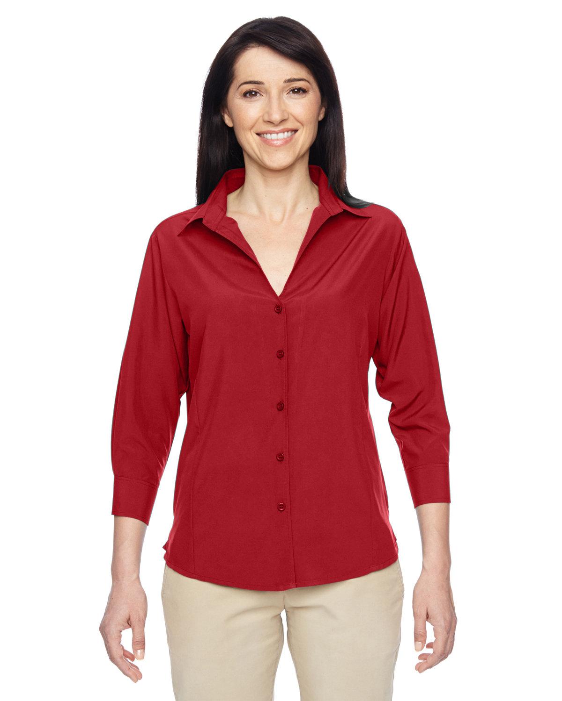 Harriton Ladies' Paradise 3/4-Sleeve Performance Shirt PARROT RED