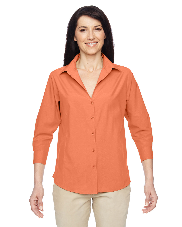 Harriton Ladies' Paradise 3/4-Sleeve Performance Shirt NECTARINE
