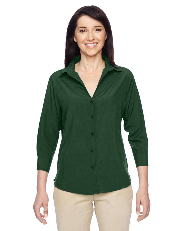 Harriton Ladies' Paradise 3/4-Sleeve Performance Shirt PALM GREEN