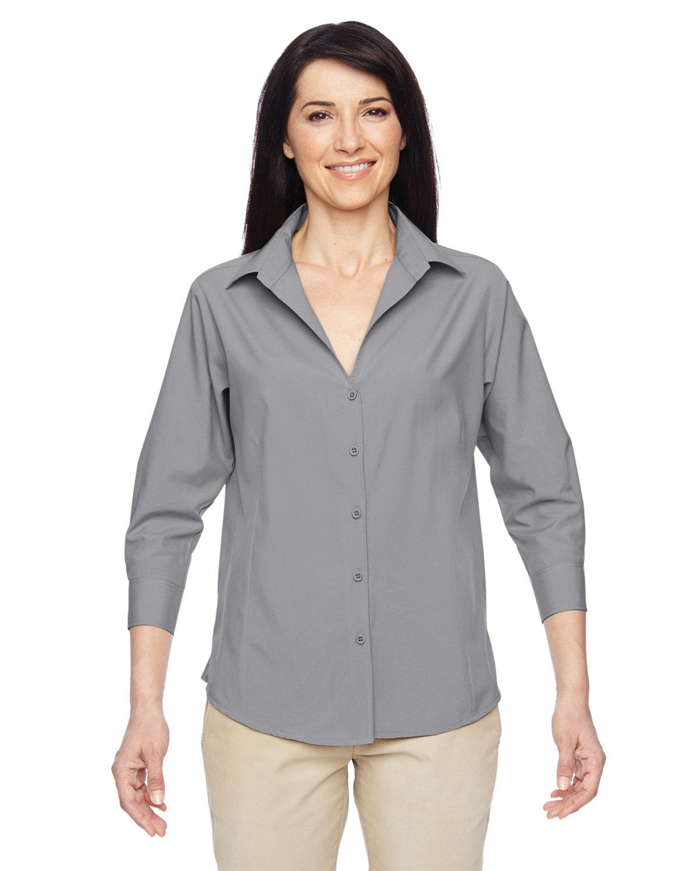 Harriton Ladies' Paradise 3/4-Sleeve Performance Shirt DARK GREY