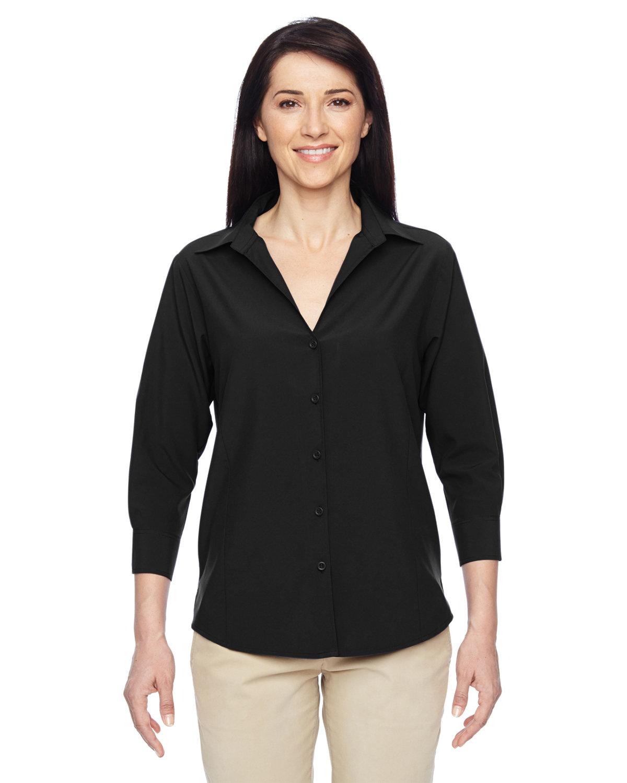 Harriton Ladies' Paradise 3/4-Sleeve Performance Shirt BLACK