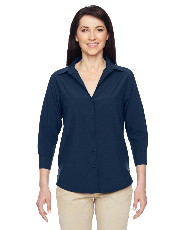 Harriton Ladies' Paradise 3/4-Sleeve Performance Shirt NAVY