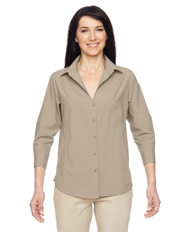 Harriton Ladies' Paradise 3/4-Sleeve Performance Shirt KHAKI