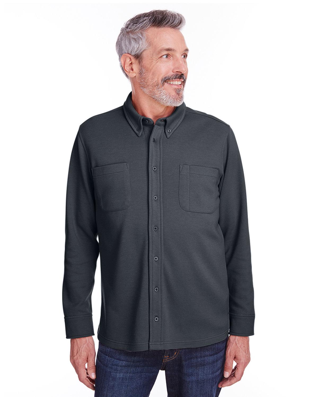 Harriton Adult StainBloc™ Pique Fleece Shirt-Jacket DARK CHARCOAL