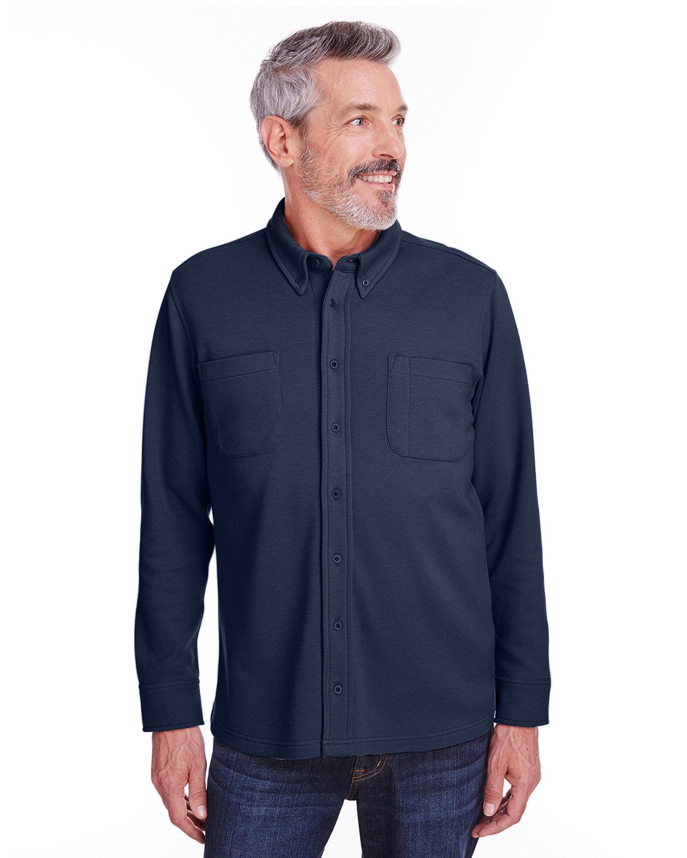 Harriton Adult StainBloc™ Pique Fleece Shirt-Jacket DARK NAVY