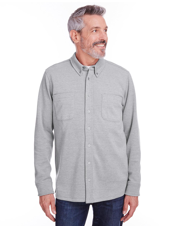 Harriton Adult StainBloc™ Pique Fleece Shirt-Jacket GREY HEATHER