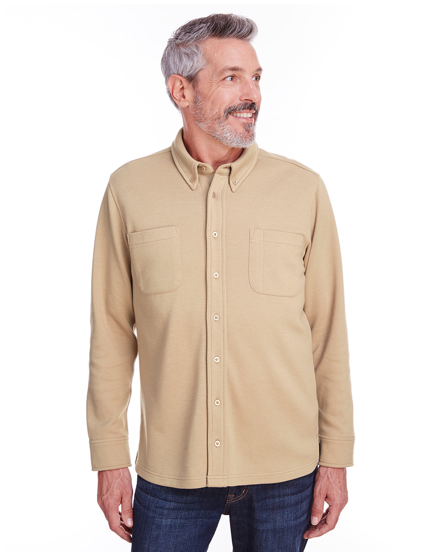 Harriton Adult StainBloc™ Pique Fleece Shirt-Jacket KHAKI