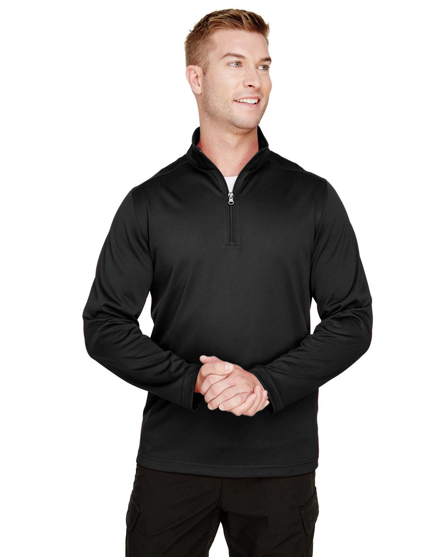 Harriton Men's Advantage Snag Protection Plus IL Quarter-Zip BLACK
