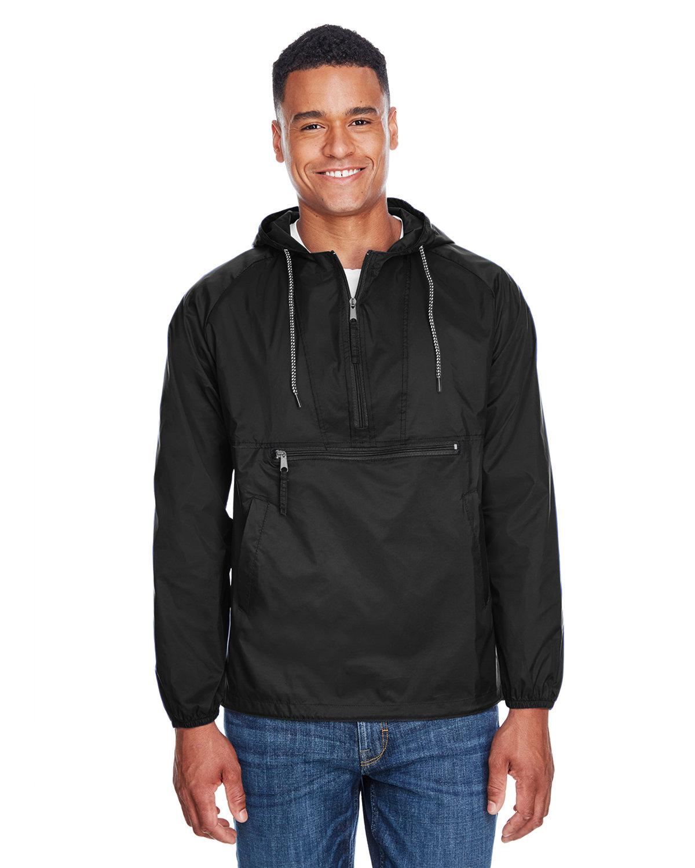 Harriton Adult Packable Nylon Jacket BLACK