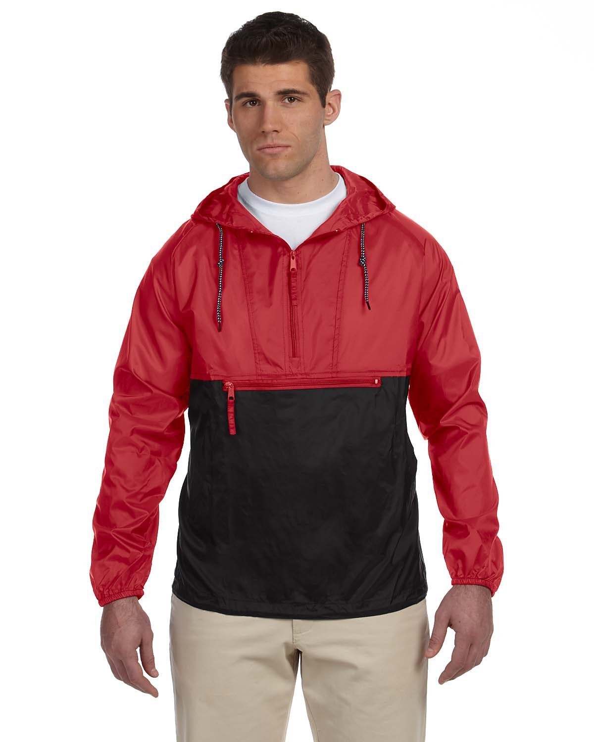 Harriton Adult Packable Nylon Jacket RED/ BLACK