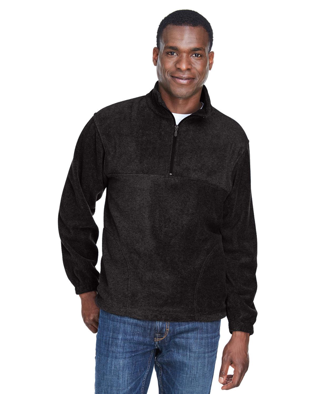 Harriton Adult 8 oz. Quarter-Zip Fleece Pullover BLACK