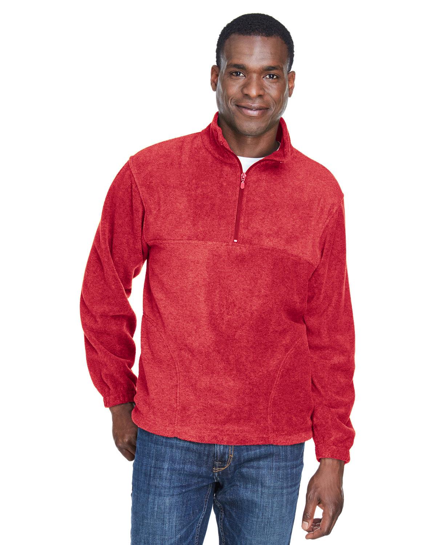 Harriton Adult 8 oz. Quarter-Zip Fleece Pullover RED