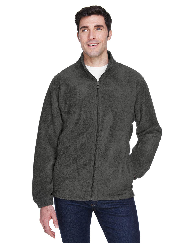 Harriton Men's Tall 8 oz. Full-Zip Fleece CHARCOAL