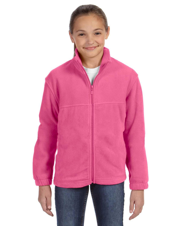 Harriton Youth 8 oz. Full-Zip Fleece CHARITY PINK