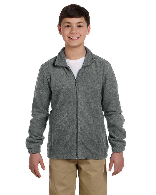 Harriton Youth 8 oz. Full-Zip Fleece CHARCOAL
