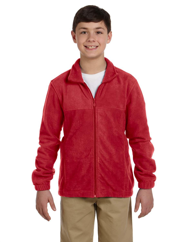 Harriton Youth 8 oz. Full-Zip Fleece RED