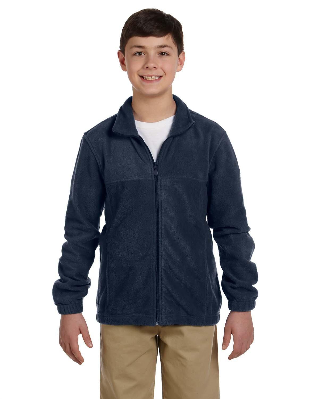 Harriton Youth 8 oz. Full-Zip Fleece NAVY