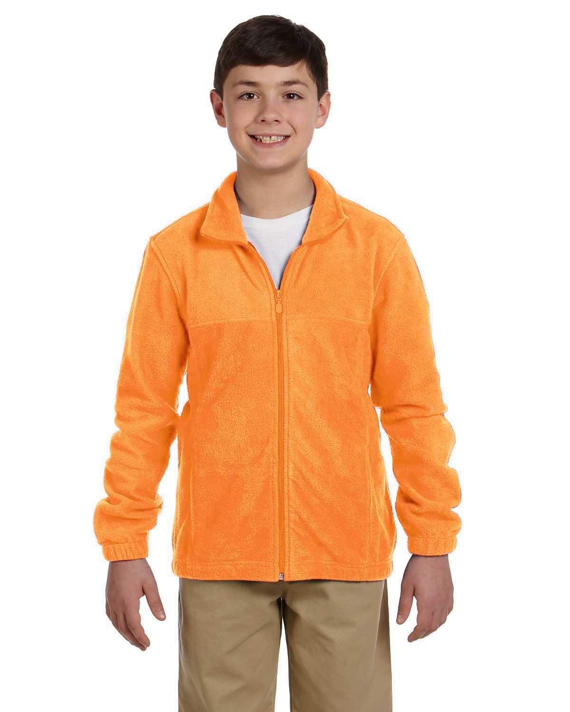 Harriton Youth 8 oz. Full-Zip Fleece SAFETY ORANGE
