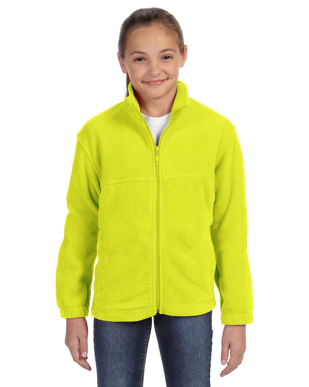 Harriton Youth 8 oz. Full-Zip Fleece SAFETY YELLOW