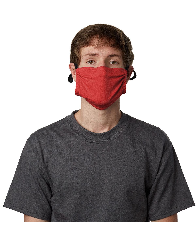 Hanes Adult Cotton Adjustable Pocket Mask DEEP RED