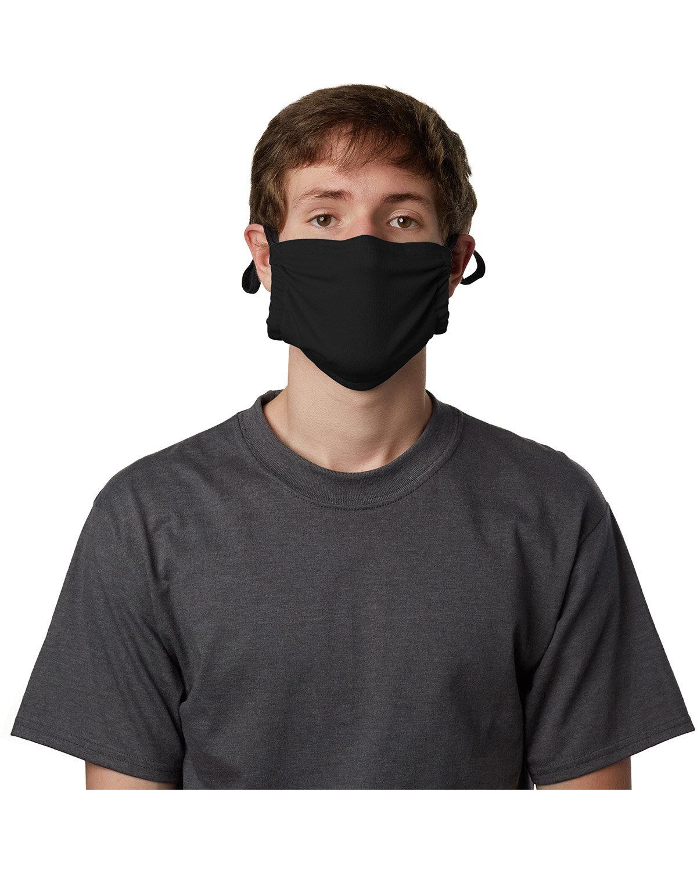 Hanes Adult Polyester Adjustable Pocket Mask BLACK