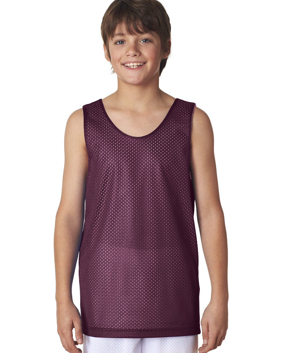 A4 Youth Reversible Mesh Tank MAROON/ WHITE