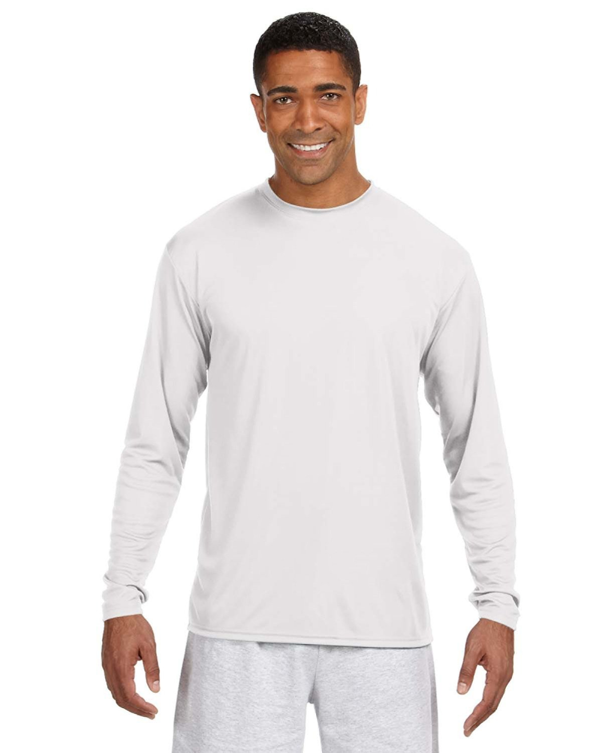 A4 Men's Cooling Performance Long Sleeve T-Shirt WHITE