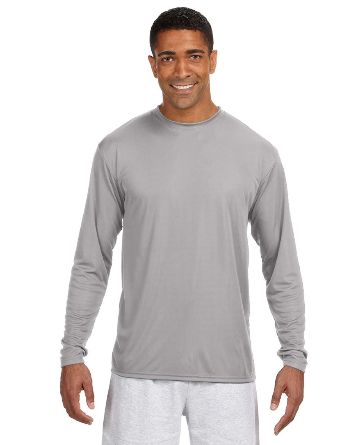 A4 Men's Cooling Performance Long Sleeve T-Shirt SILVER