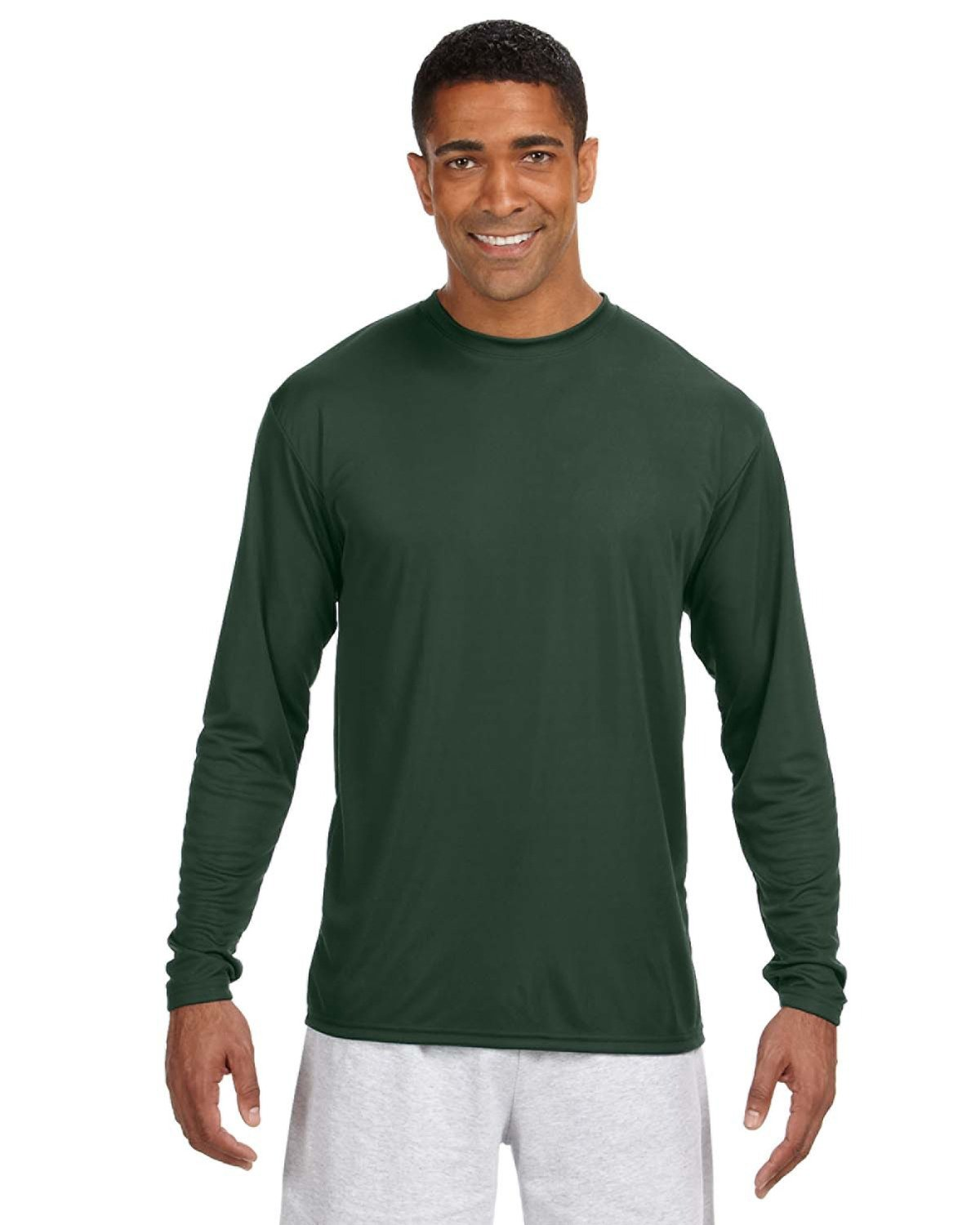 A4 Men's Cooling Performance Long Sleeve T-Shirt FOREST GREEN