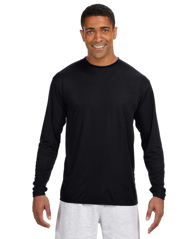 A4 Men's Cooling Performance Long Sleeve T-Shirt BLACK