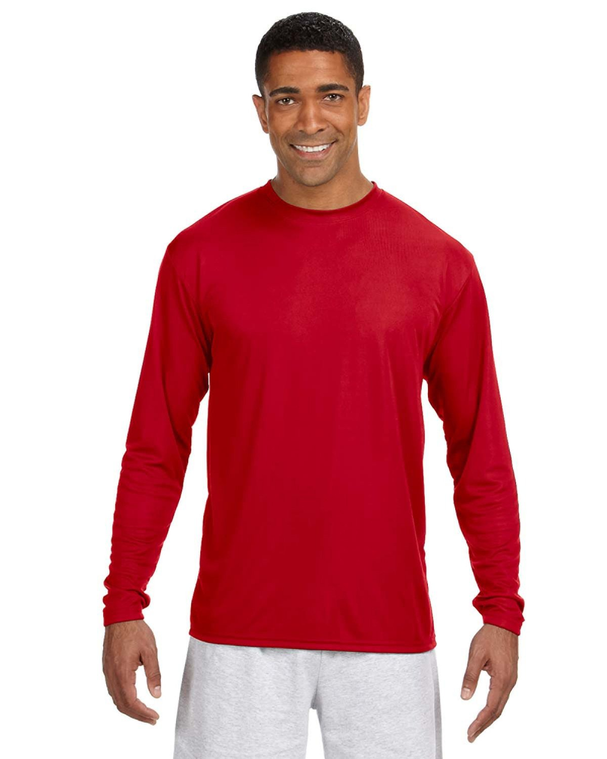 A4 Men's Cooling Performance Long Sleeve T-Shirt SCARLET
