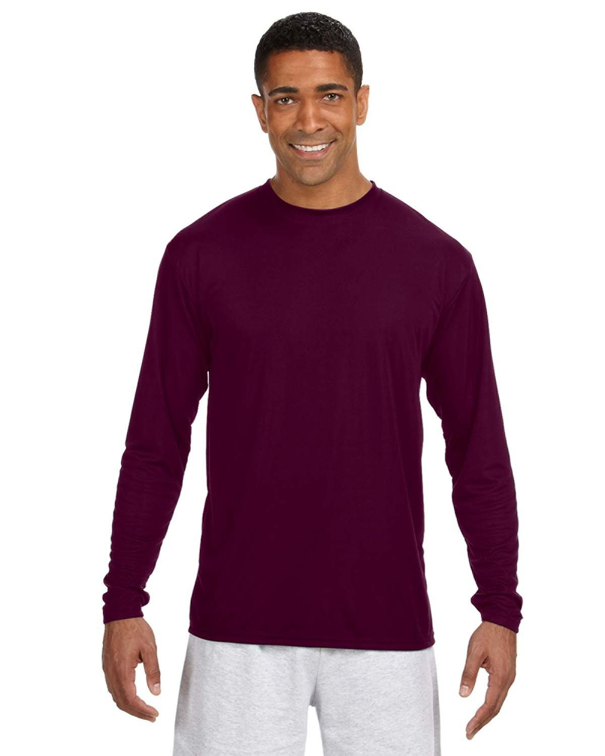 A4 Men's Cooling Performance Long Sleeve T-Shirt MAROON