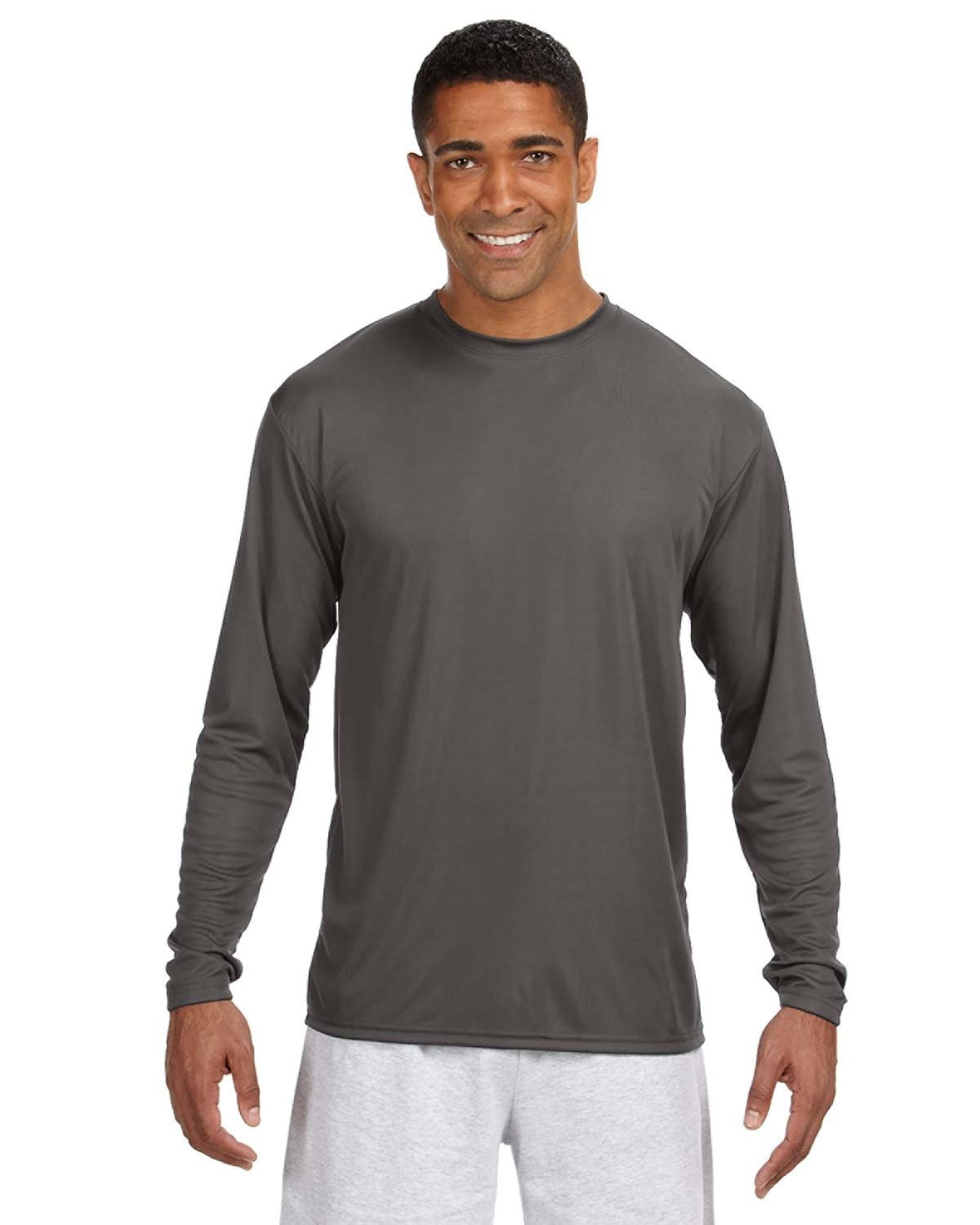 A4 Men's Cooling Performance Long Sleeve T-Shirt GRAPHITE