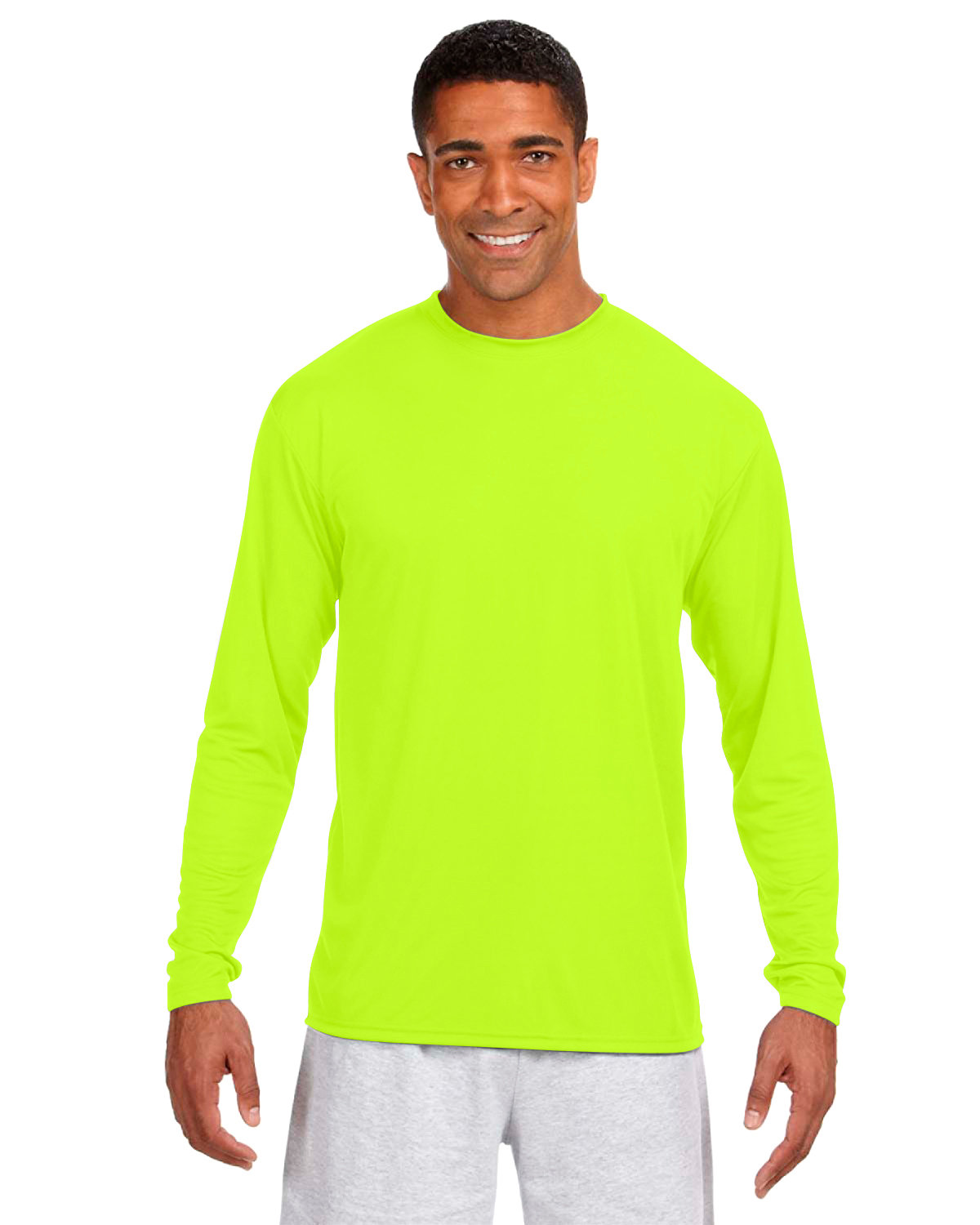 A4 Men's Cooling Performance Long Sleeve T-Shirt SAFETY YELLOW