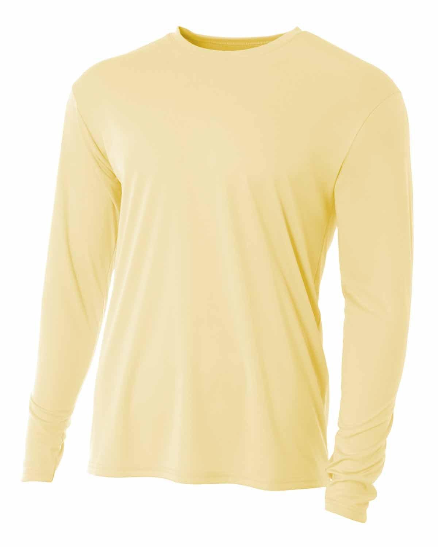 A4 Men's Cooling Performance Long Sleeve T-Shirt LIGHT YELLOW
