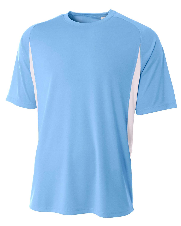 A4 Men's Cooling Performance Color Blocked T-Shirt LIGHT BLUE/ WHT