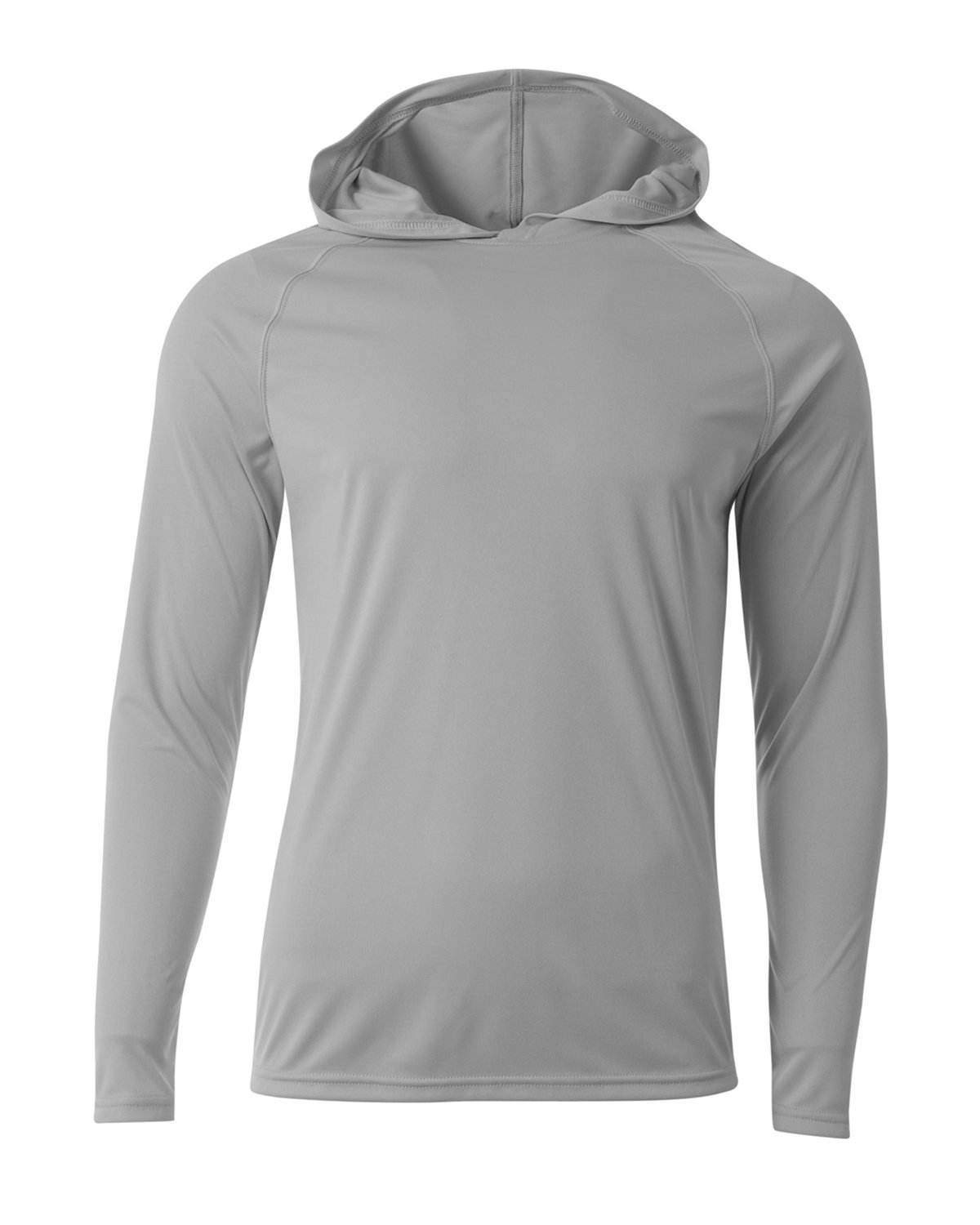A4 Men's Cooling Performance Long-Sleeve Hooded T-shirt SILVER