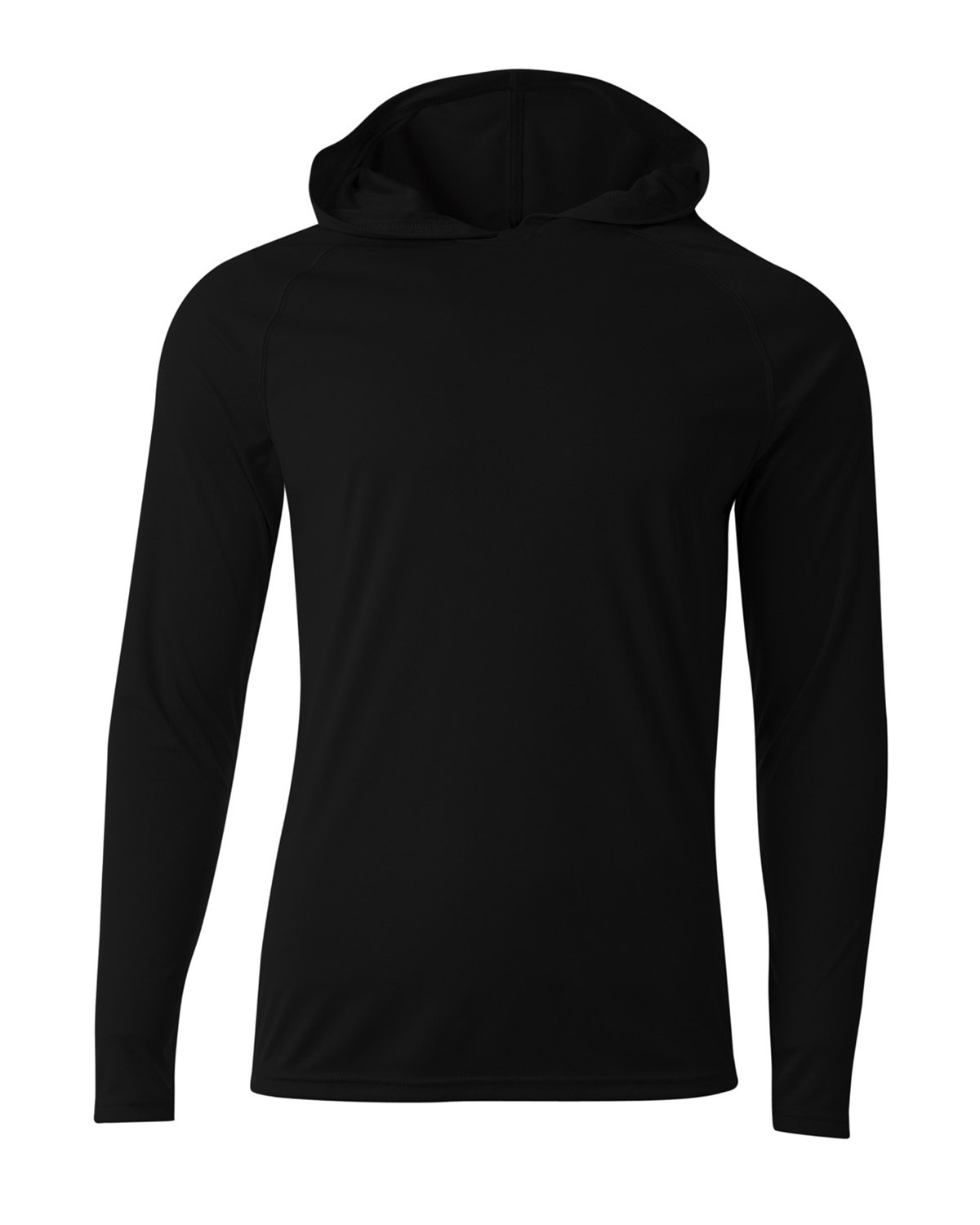 A4 Men's Cooling Performance Long-Sleeve Hooded T-shirt BLACK
