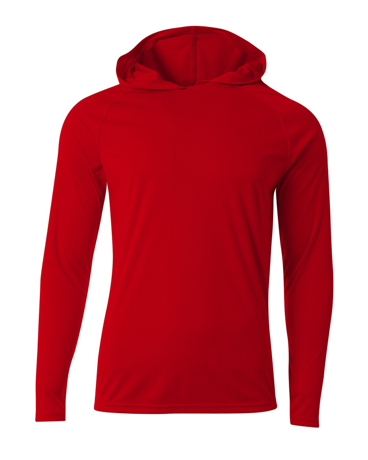 A4 Men's Cooling Performance Long-Sleeve Hooded T-shirt SCARLET