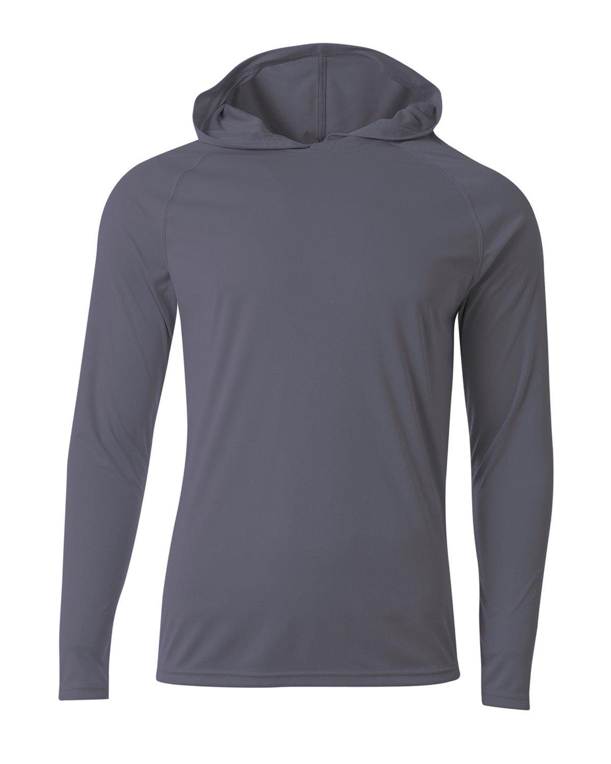 A4 Men's Cooling Performance Long-Sleeve Hooded T-shirt GRAPHITE