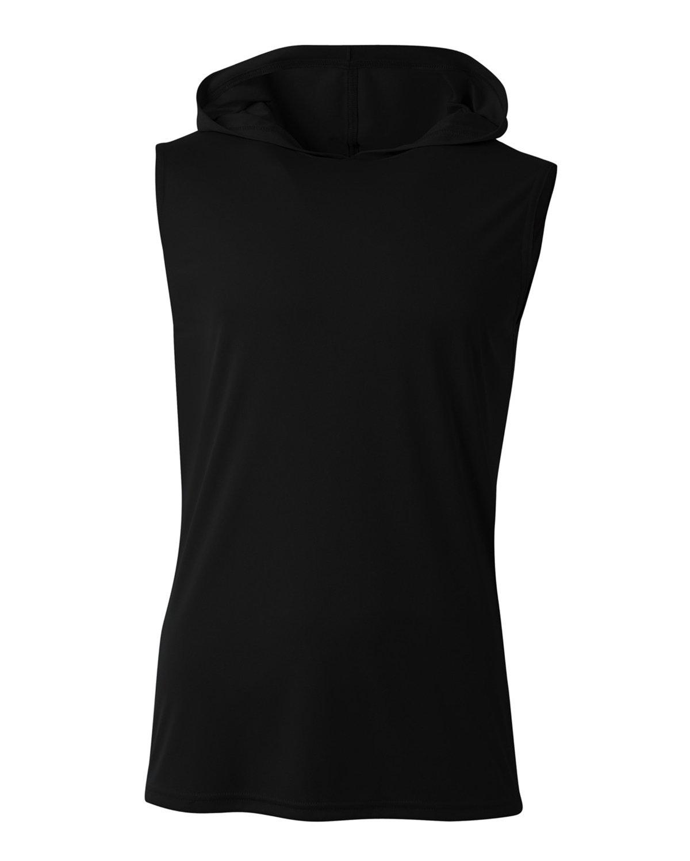 A4 Men's Cooling Performance Sleeveless Hooded T-shirt BLACK