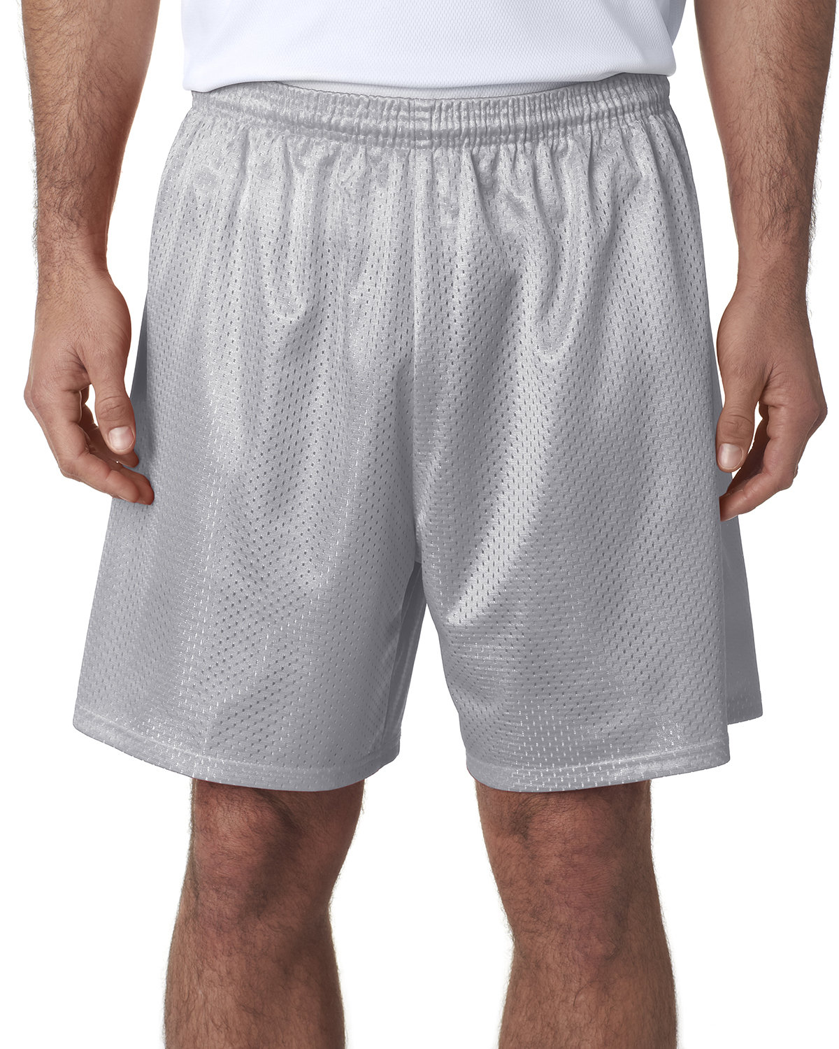 A4 Adult Seven Inch Inseam Mesh Short SILVER