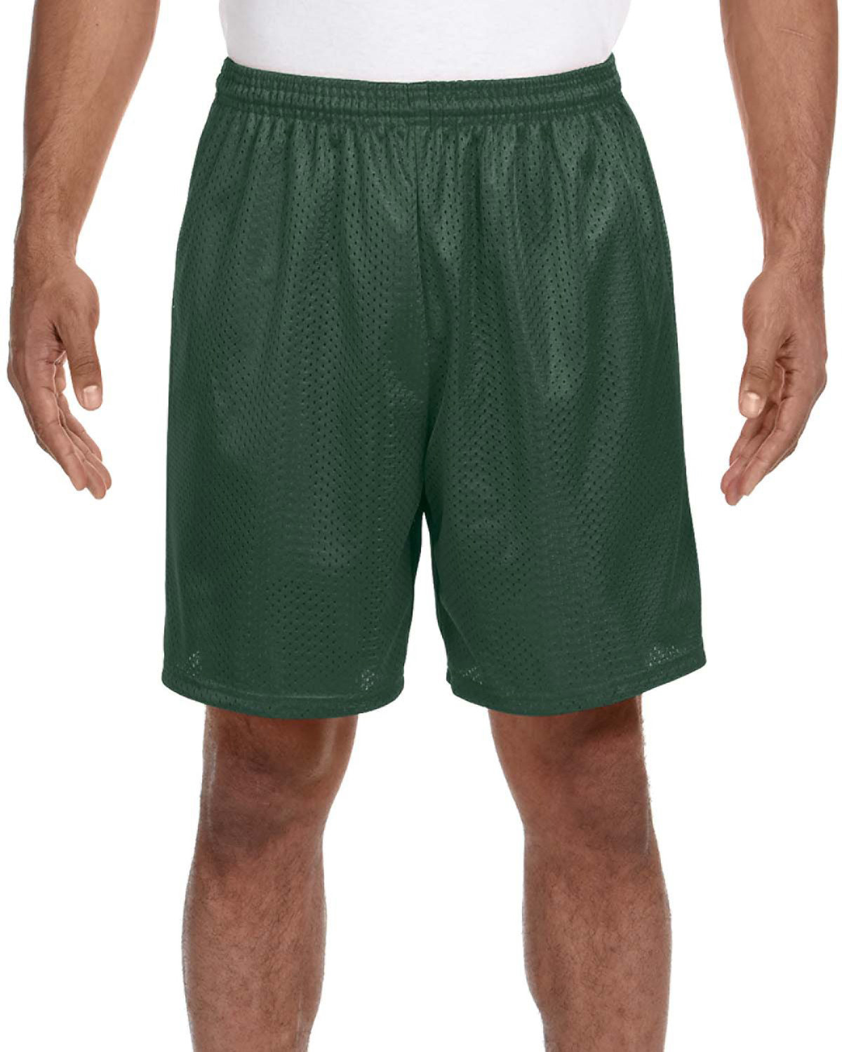 A4 Adult Seven Inch Inseam Mesh Short FOREST GREEN