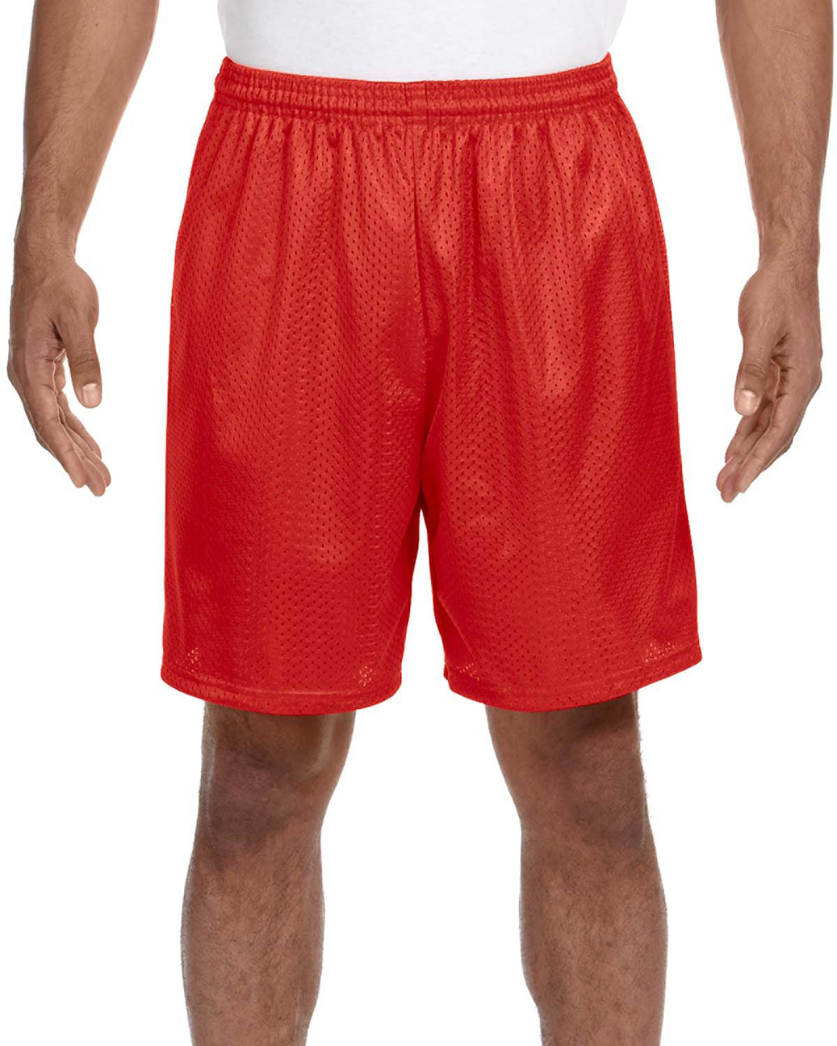 A4 Adult Seven Inch Inseam Mesh Short SCARLET