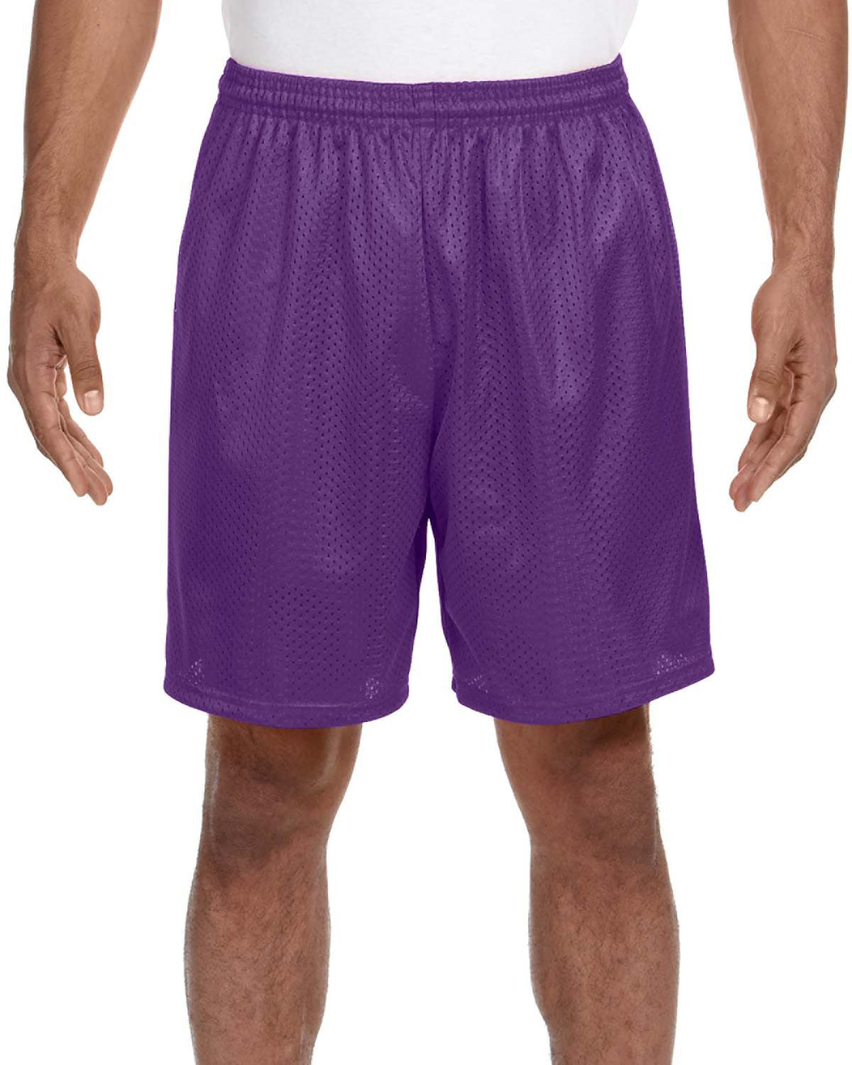 A4 Adult Seven Inch Inseam Mesh Short PURPLE