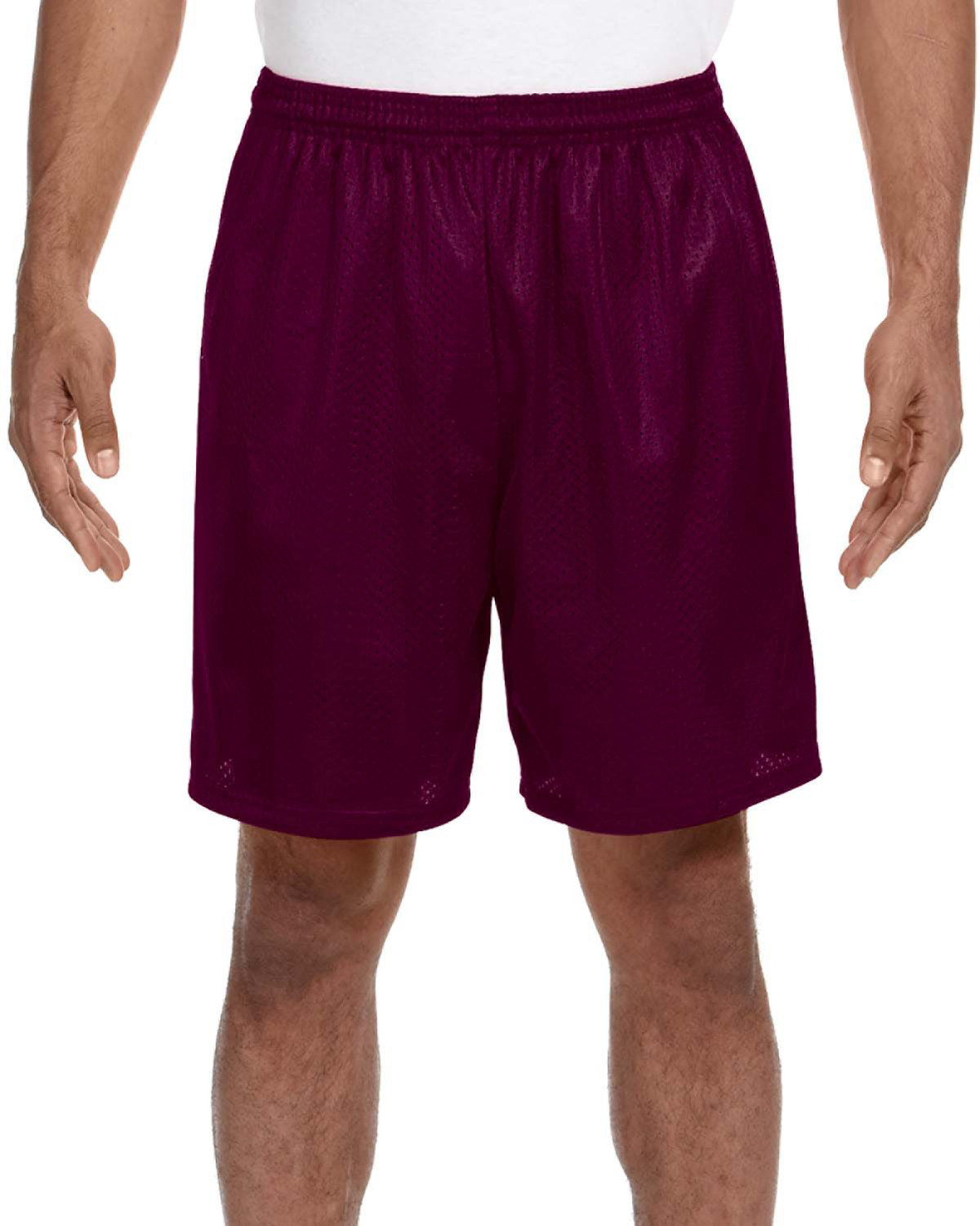 A4 Adult Seven Inch Inseam Mesh Short MAROON